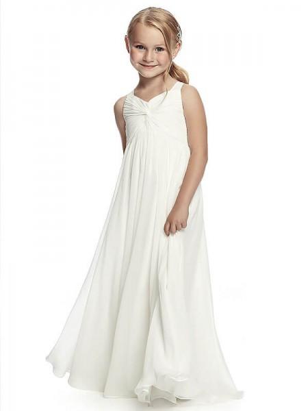 A-Line/Princess Sleeveless Straps Ruched Floor-Length Chiffon Flower Girl Dresses