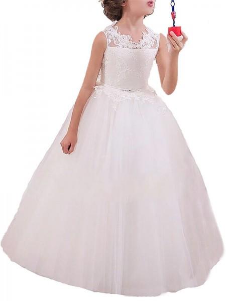 Ball Gown Jewel Sleeveless Applique Floor-Length Tulle Flower Girl Dresses