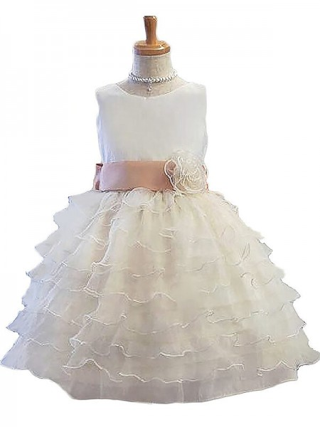 A-Line/Princess Sleeveless Jewel Hand-Made Flower Tulle Short/Mini Flower Girl Dresses