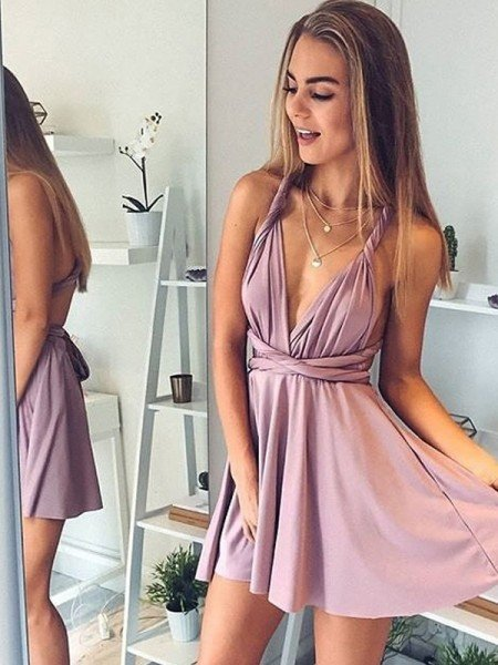 1daafaabe8 A-Line Princess V-neck Sleeveless Short Mini Silk like Satin Dresses