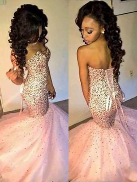 Trumpet/Mermaid Sleeveless Sweetheart Tulle Sequin Floor-Length Dresses