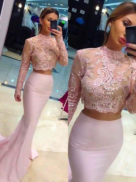 Sheath/Column Long Sleeves Lace Sweep/Brush Train High Neck Satin Two Piece Dresses