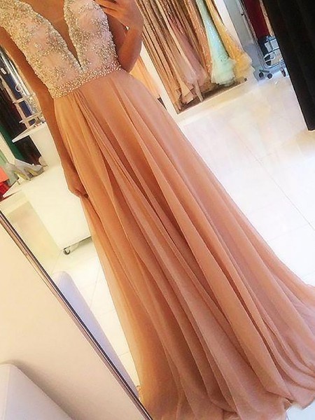 A-Line/Princess Sleeveless V-neck Chiffon Beading Sweep/Brush Train Dresses