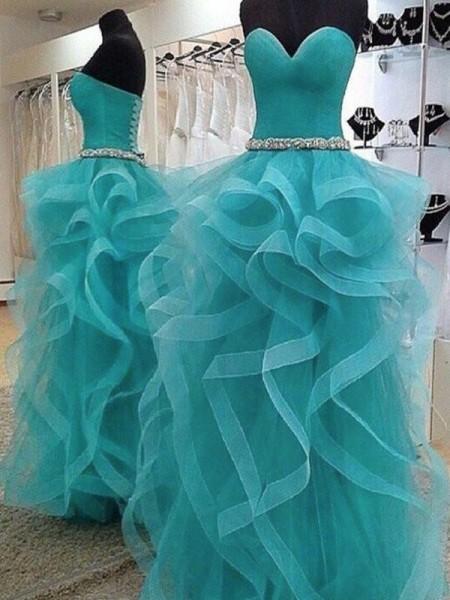 Ball Gown Sleeveless Sweetheart Beading Floor-Length Organza Dresses