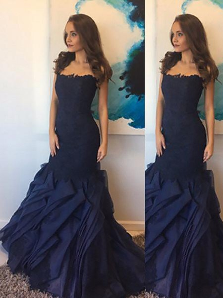Trumpet/Mermaid Strapless Taffeta Lace Sleeveless Floor-Length Dresses