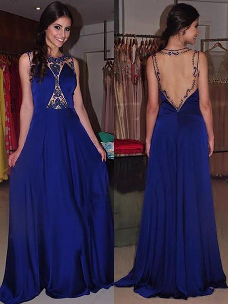 A-Line/Princess Bateau Sleeveless Sweep/Brush Train Beading Chiffon Dresses