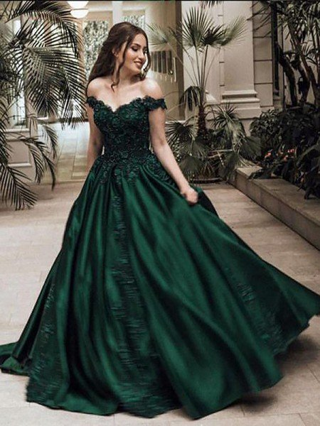 f6560fc2b42 Ball Gown Off-the-Shoulder Sleeveless Floor-Length Lace Satin Dresses