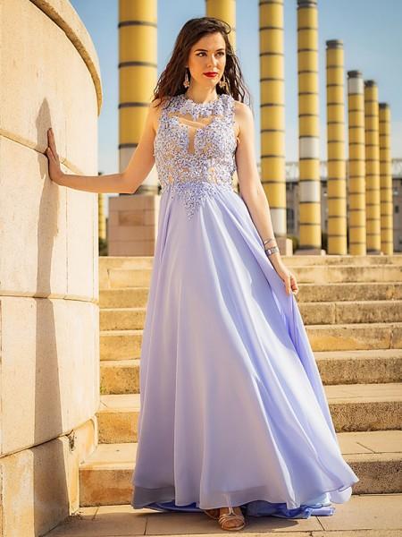 A-Line/Princess Sleeveless Applique Chiffon Scoop Sweep/Brush Train Dresses