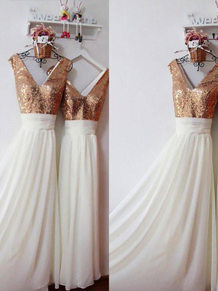 A-Line/Princess Chiffon V-neck Sleeveless Floor-Length Sequin Bridesmaid Dresses