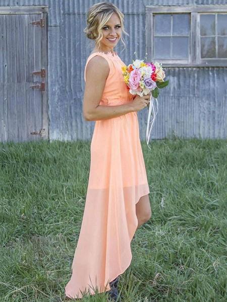 A-Line/Princess Sleeveless Scoop Asymmetrical Chiffon Bridesmaid Dresses