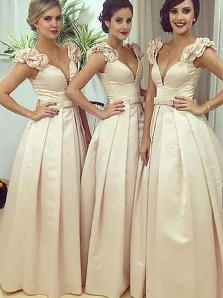 A-Line/Princess Floor-Length Satin Sleeveless Straps Bridesmaid Dresses