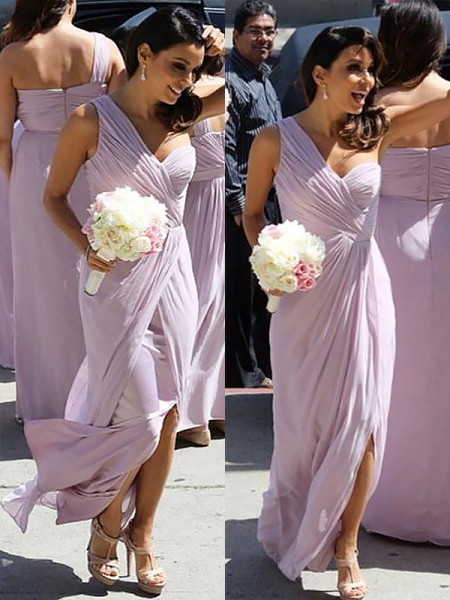 A-Line/Princess One-Shoulder Chiffon Ruched Sleeveless Floor-Length Bridesmaid Dresses