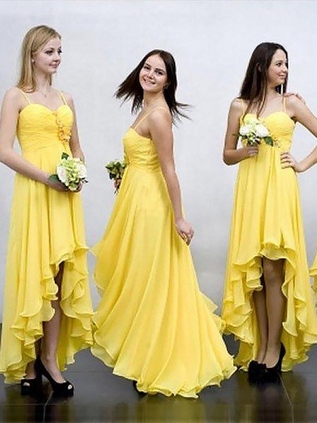 A-Line/Princess Sleeveless Asymmetrical Spaghetti Straps Chiffon Bridesmaid Dresses