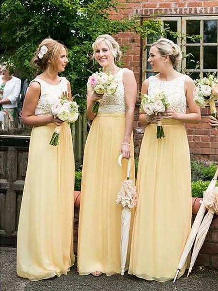 A-Line/Princess Scoop Sleeveless Chiffon Floor-Length Bridesmaid Dresses