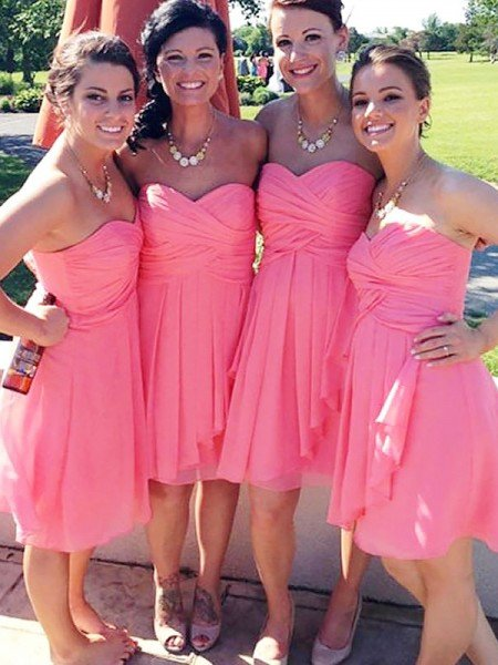 A-Line/Princess Sleeveless Short/Mini Sweetheart Chiffon Bridesmaid Dresses