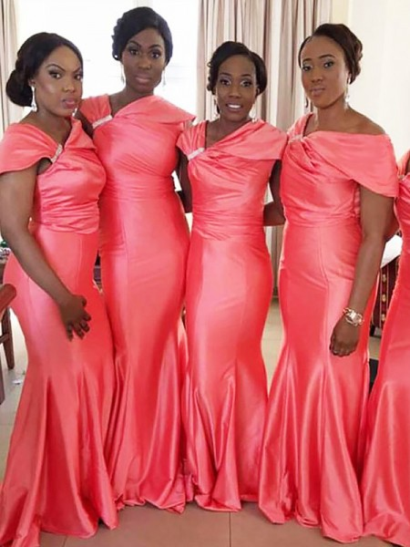 Trumpet/Mermaid Off-the-Shoulder Floor-Length Sleeveless Satin Bridesmaid Dresses