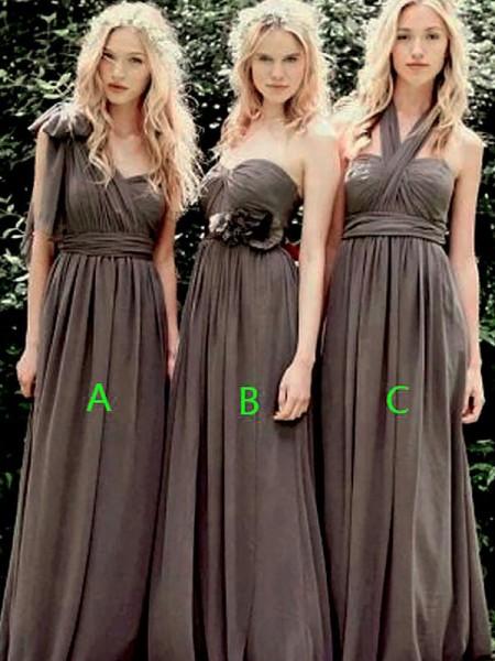 A-Line/Princess Sleeveless Chiffon Floor-Length Bridesmaid Dresses