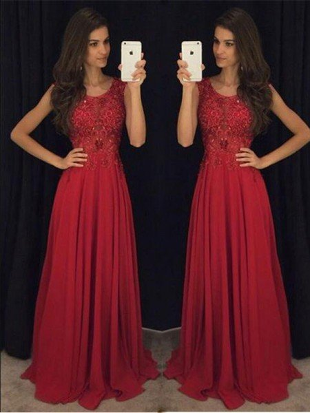 A-Line/Princess Sleeveless Scoop Chiffon Beading Floor-Length Dresses