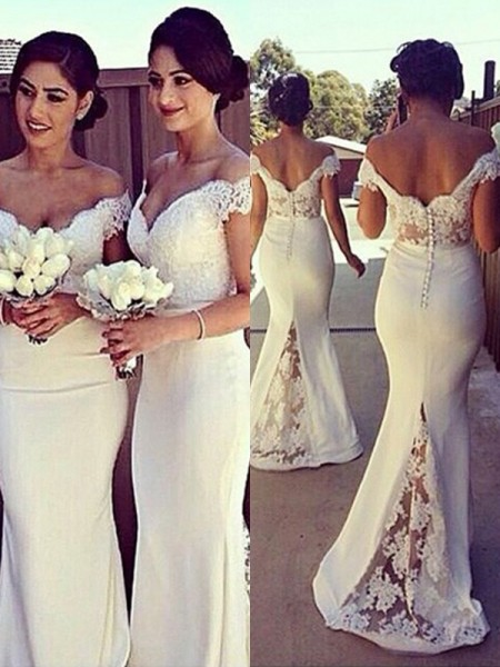 4e7b84d8f10 Trumpet Mermaid Sleeveless Off-the-Shoulder Lace Satin Sweep Brush Train  Dresses