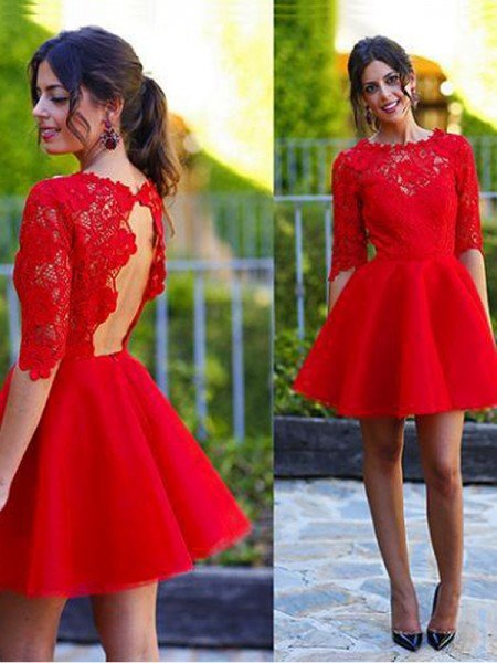A-Line/Princess Scoop 1/2 Sleeves Lace Short/Mini Dresses