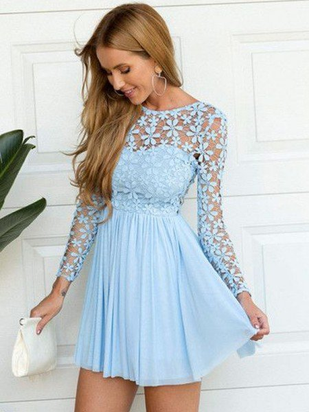 727cc34cf90 A-Line Princess Scoop Long Sleeves Lace Short Mini Chiffon Dresses