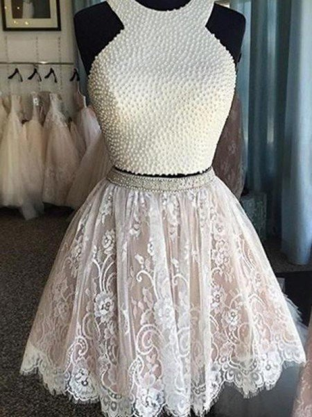 70c43b6921e2e A-Line Princess Sleeveless Halter Pearls Short Mini Lace Two Piece Dresses