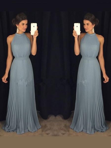 A-Line/Princess Sleeveless High Neck Pleats Floor-Length Chiffon Dresses