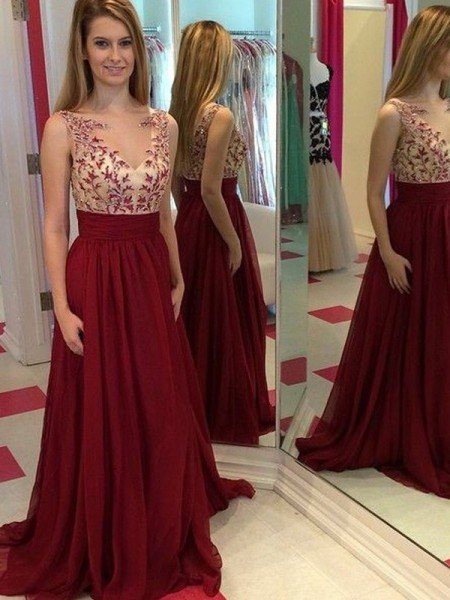 A-Line/Princess Bateau Sleeveless Applique Floor-Length Chiffon Dresses