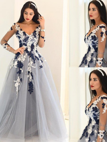 A-Line/Princess V-Neck Long Sleeves Applique Tulle Floor-Length Dresses