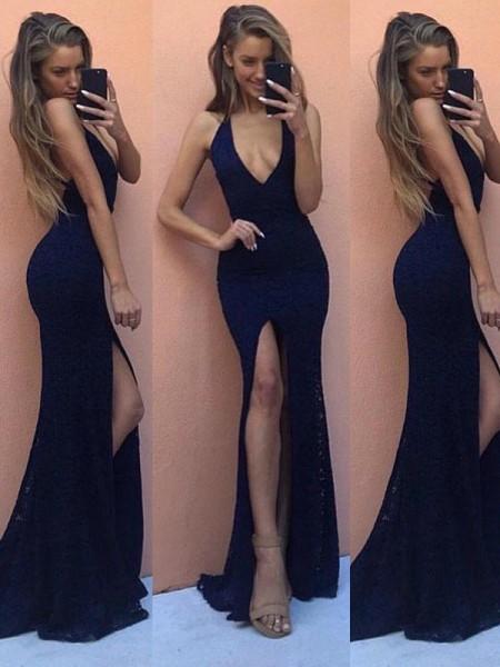 Sheath/Column Sleeveless Lace V-Neck Floor-Length Dresses