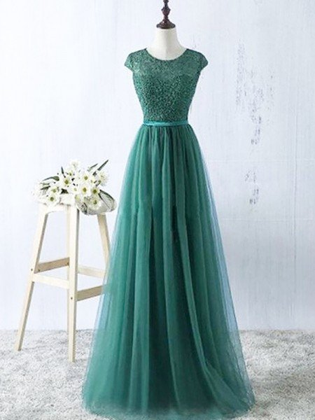 A-Line/Princess Scoop Sleeveless Tulle Floor-Length Dresses