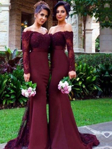 de266e5160b59 Trumpet/Mermaid Off-the-Shoulder Long Sleeves Satin Sweep/Brush Train Bridesmaid  Dresses