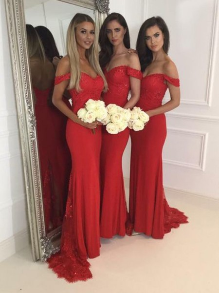 201a0a9971c7b Trumpet/Mermaid Off-the-Shoulder Sleeveless Jersey Sweep/Brush Train Bridesmaid  Dresses