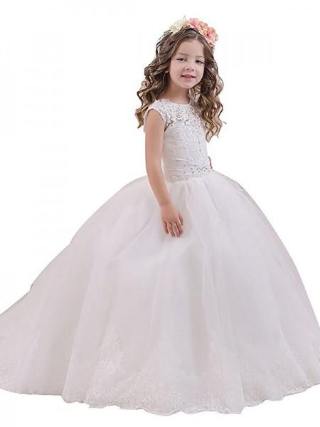 Ball Gown Sleeveless Scoop Floor-Length Tulle Flower Girl Dresses