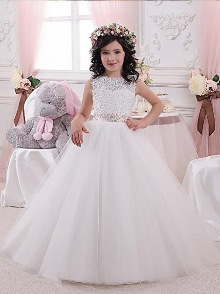 Flower girl dresses 2018 cheap flower girl dresses for wedding ball gown scoop sleeveless sashribbonbelt tulle floor length flower girl dresses mightylinksfo