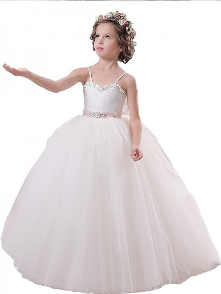 Ball Gown Sleeveless Spaghetti Straps Sash/Ribbon/Belt Floor-Length Tulle Flower Girl Dresses