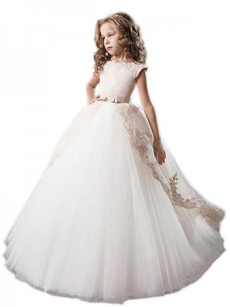 Ball Gown Scoop Tulle Applique Floor-Length Sleeveless Flower Girl Dresses