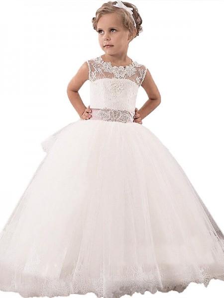 Ball Gown Scoop Sleeveless Lace Floor-Length Tulle Flower Girl Dresses