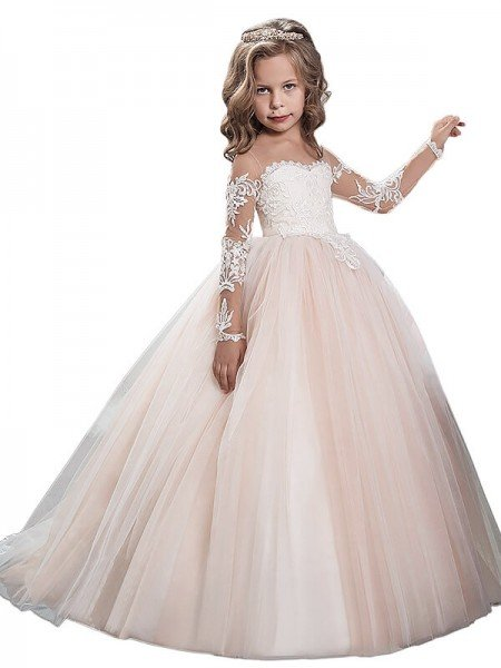 Flower girl dresses 2018 cheap flower girl dresses for wedding ball gown scoop long sleeves floor length tulle flower girl dresses mightylinksfo