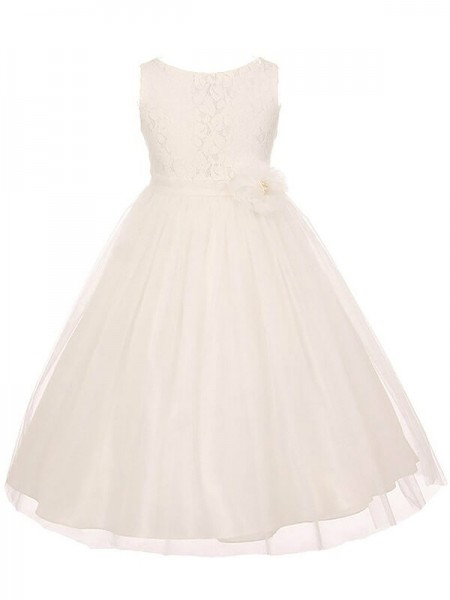 A-line/Princess Scoop Sleeveless Tulle Sash/Ribbon/Belt Ankle-Length Flower Girl Dresses