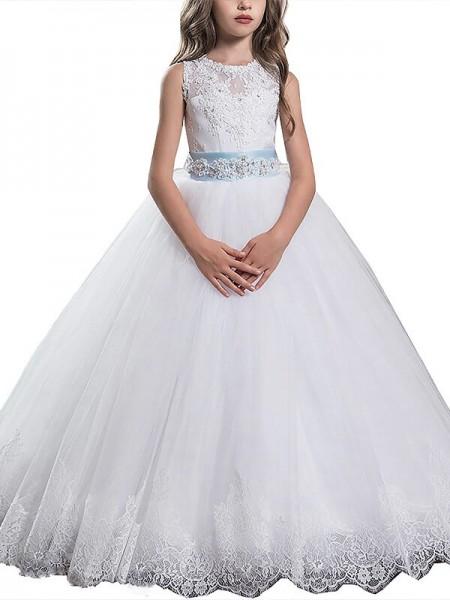 Ball Gown Scoop Sleeveless Applique Floor-Length Tulle Flower Girl Dresses