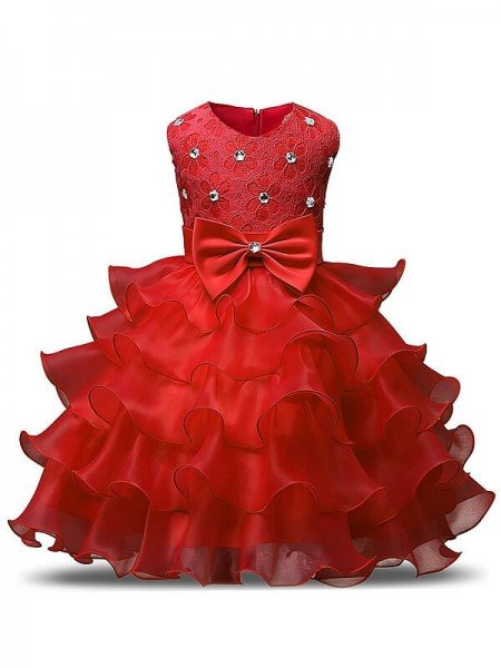 Ball Gown Sleeveless Scoop Ruffles Tea-Length Organza Flower Girl Dresses
