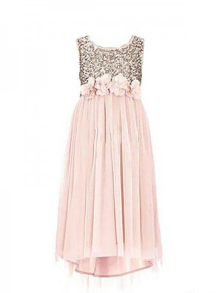 A-line/Princess Scoop Sleeveless Sequin Chiffon Floor-Length Flower Girl Dresses