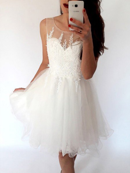 A-Line/Princess Scoop Sleeveless Tulle Short/Mini Dresses
