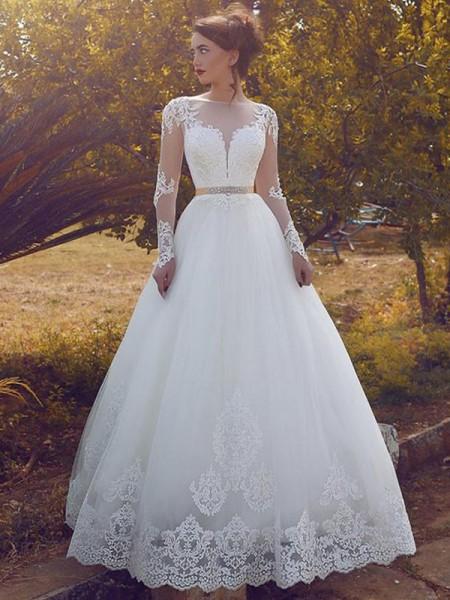 Ball Gown Bateau Tulle Long Sleeves Floor-Length Wedding Dresses