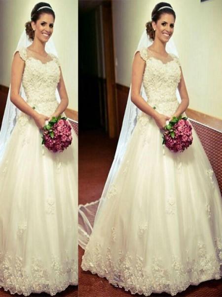 Ball Gown Tulle Floor-Length Sleeveless Sweetheart Wedding Dresses