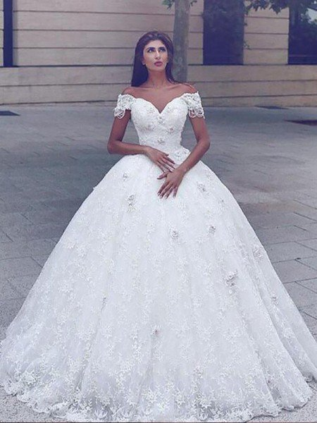 Ball Gown Lace Floor-Length Straps Sleeveless Wedding Dresses