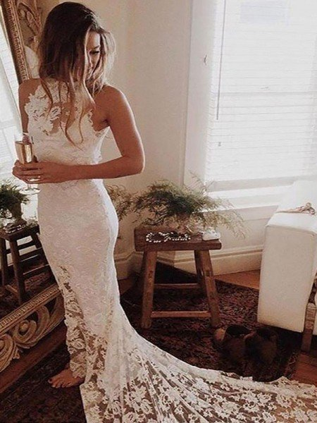 Trumpet/Mermaid Halter Sleeveless Lace Chapel Train Wedding Dresses