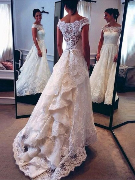 A-Line/Princess Scoop Lace Sweep/Brush Train Sleeveless Wedding Dresses