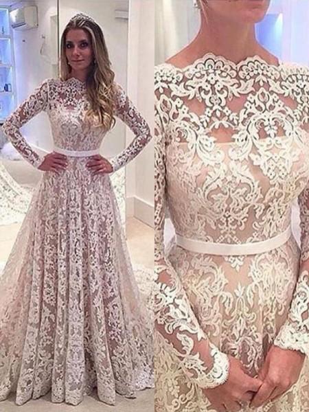 03d5dc255b7 A-Line Princess Bateau Long Sleeves Lace Court Train Wedding Dresses